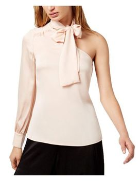 1.State Womens One Shoulder Bow Blouse Blush Frost Size Large $79   Nwt by 1. State