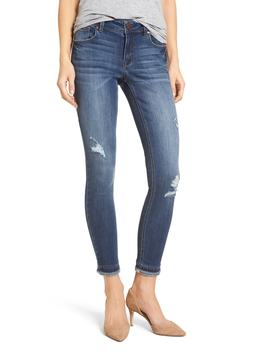 Double Fray Hem Skinny Jeans by 1822 Denim