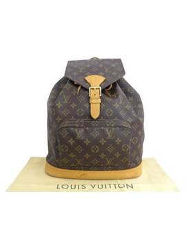 Auth Louis Vuitton Monogram Canvas Montsouris Gm Backpack Brown   E36099 by Louis Vuitton