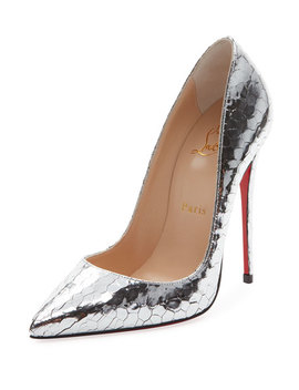 So Kate 120mm Metallic Crackled Leather Red Sole Pumps by Christian Louboutin