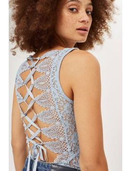 Topshop Baby Blue Laced Up Bodysuit by Topshop