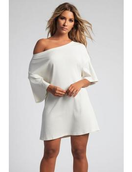 Kenisha Ribbed T   Shirt Dress   Cream by Meshki