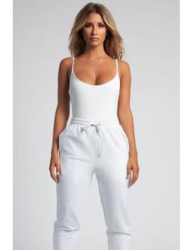 Delilah Slinky Jersey Strappy Bodysuit   White by Meshki