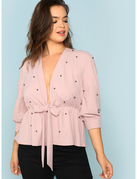 SheinPlunging Neck Beaded Detail Knot Top by Shein