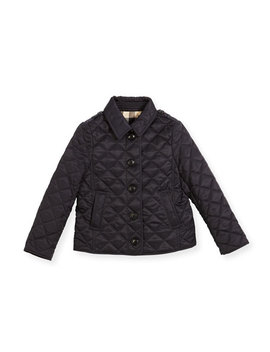 Ashurst Quilted Button Front Jacket, Navy, Size 4 14 by Burberry