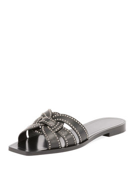 Studded Flat Tribute Slide Sandal by Saint Laurent