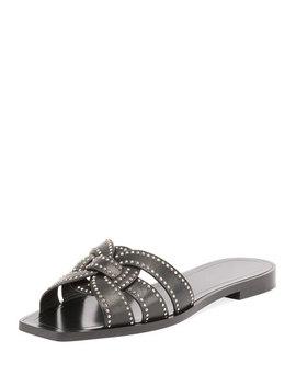 Studded Flat Tribute Slide Sandal by Saint Laurent
