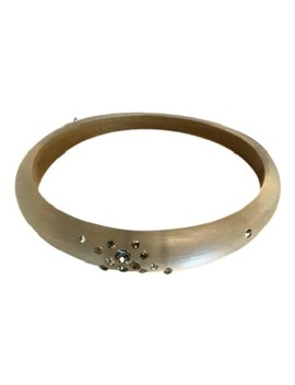 White Opalescent Lucite Swarovski Bangle Bracelet by Alexis Bittar