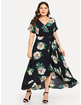 SheinPlus Surplice Neck Floral Overlap Ruffle Hem Dress by Shein