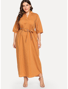 Plus Striped Belted Dress by Shein