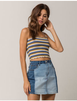 Sky And Sparrow Ribbed Lettuce Edge Womens Crop Cami by Sky And Sparrow