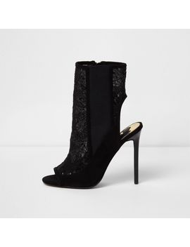 Black Sequin Mesh Stiletto Heel Shoe Boots by River Island