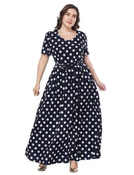 Plus Polka Dot Self Tie Waist Dress by Shein