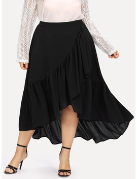SheinPlus Slit Tiered Ruffle Hem Skirt by Shein