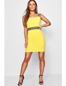 Petite Tape Detail Bodycon Dress by Boohoo