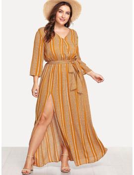 SheinPlus High Split Striped Wrap Dress by Shein
