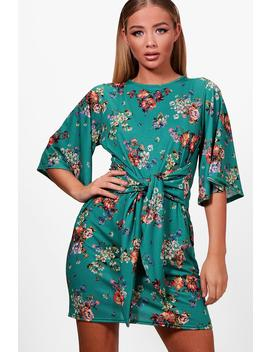 Tie Front Floral Shift Dress by Boohoo