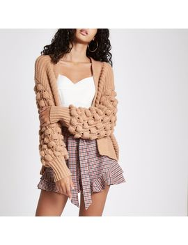 Brown Bobble Heart Knit Cardigan by River Island