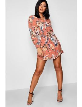 Luxe Fabric Floral Tie Waist Shirt Dress by Boohoo