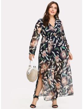 Plus Feather Print Slit Side Surplice Dress by Shein