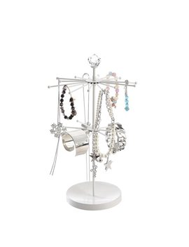 White Modern Metal Rotating Tabletop Bracelet & Necklace Jewelry Organizer Display Tree Tower Rack by Spoil Cupid