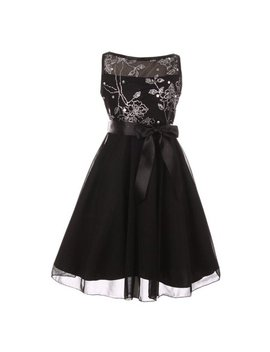 Cinderella Couture Girls Black Glitter Sequin Junior Bridesmaid Dress by Cinderella Couture
