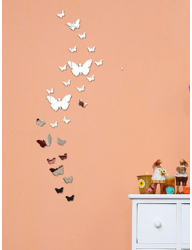 Butterfly Mirror Wall Sticker Set 25pcs by Sheinside