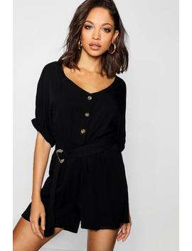 Button Belted Shorts Sleeve Playsuit by Boohoo