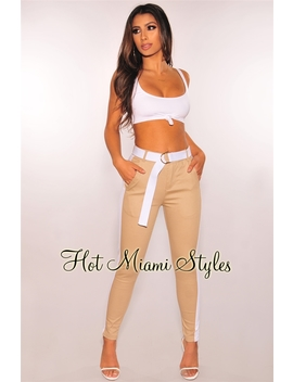 Nude White Striped Sides Belted Pants by Hot Miami Style