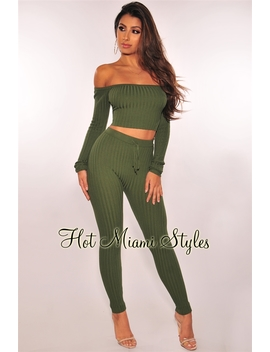 Olive Ribbed Knit Off Shoulder Two Piece Set by Hot Miami Style