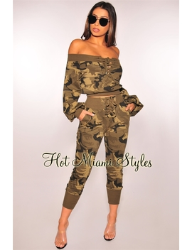 Camo High Waist Lace Up Jogger Pants by Hot Miami Style