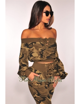 Camo Off Shoulder Lace Up Sweater Crop Top by Hot Miami Style