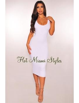 White Ribbed Knit Sleeveless Dress by Hot Miami Style