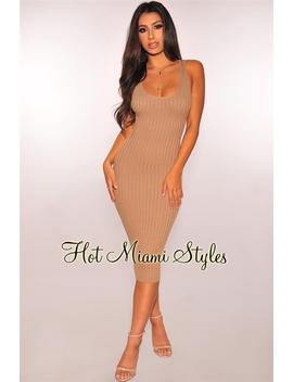 Mocha Ribbed Knit Sleeveless Dress by Hot Miami Style