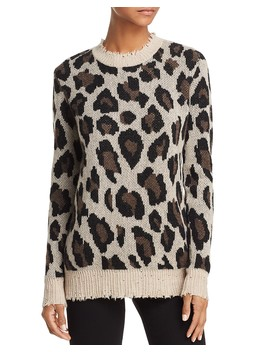 Animal Print Crewneck Cashmere Sweater   100 Percents Exclusive  by Aqua