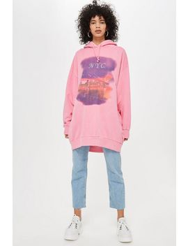 'new York City' Long Line Hoodie by Topshop