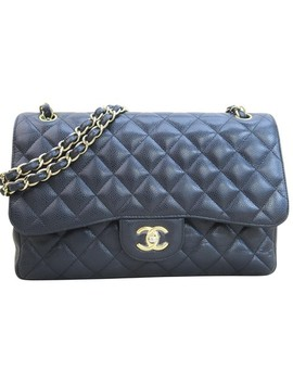 Classic Flap Classic Jumbo Double Black Caviar Shoulder Bag by Chanel