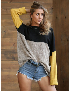SheinColor Block Marled Knit Jumper by Shein