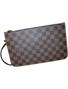 Neverfull Ebene/Red Gm/Mm Pouch Damier Ebene/Red Wristlet by Louis Vuitton