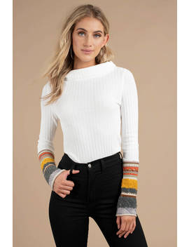 Free People Mixed Up Cuff Ivory Long Sleeve Top by Tobi