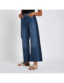 Mid Blue Premium Super Wide Leg Denim Jeans by River Island