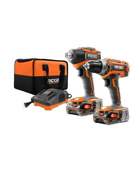 18 Volt Lithium Ion Cordless Brushless Drill/Driver And Impact Driver Combo Kit W/(2) 1.5 Ah Batteries, Charger And Bag by Ridgid