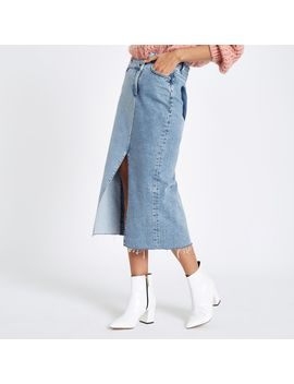 Denim Asymmetric Waistband Longline Skirt by River Island