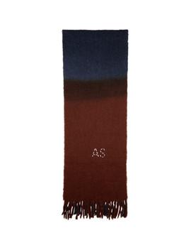 Navy & Brown Kelow Dye Scarf by Acne Studios