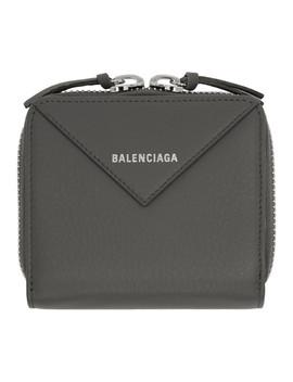 Grey Thin Papier Zip Wallet by Balenciaga