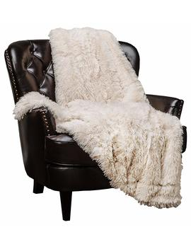 "Chanasya Super Soft Shaggy Longfur Throw Blanket | Snuggly Fuzzy Faux Fur Lightweight Warm Elegant Cozy Plush Sherpa Fleece Microfiber Blanket | For Couch Bed Chair Photo Props   50""X 65""   Cream by Chanasya"