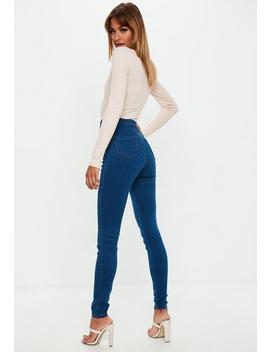 Tall Blue Vice Superstretch Mid Wash Skinny Jeans by Missguided
