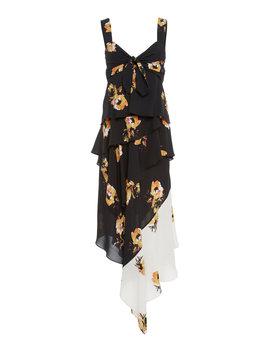 Natalia Mixed Ruffled Silk Midi Dress by A.L.C.