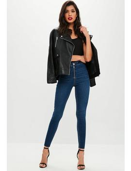 Blue High Waist Skinny Jeans by Missguided