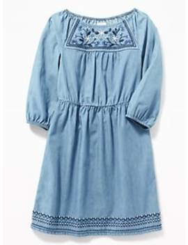 Waist Defined Embroidered Dress For Girls by Old Navy